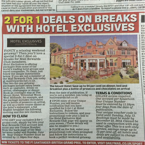 Daily Mail Promotion for HotelExclusives
